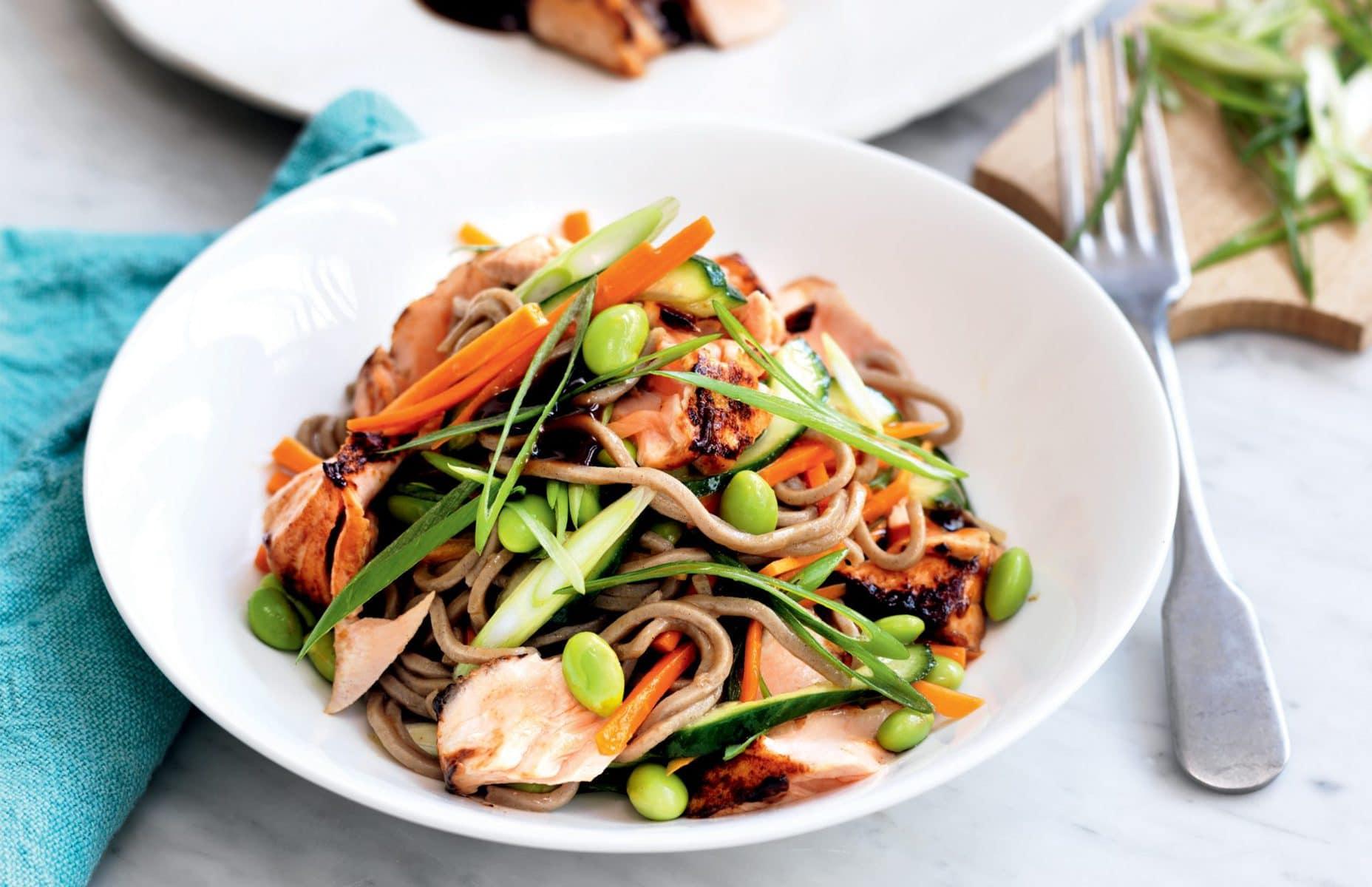 Teriyaki salmon and edamame soba noodle salad