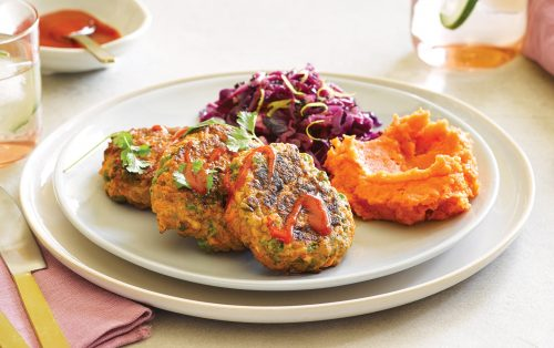 Thai turkey cakes with ginger and lemon cabbage and kumara mash