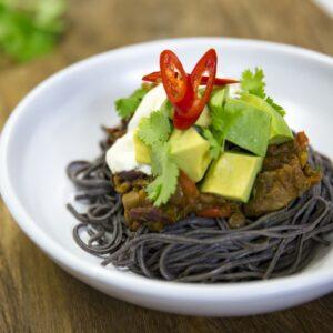 Vegetable chilli with black bean spaghetti