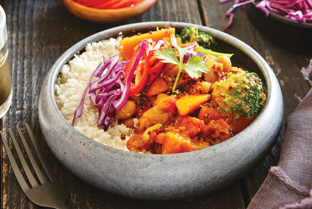 Coconut quinoa curry with cauliflower rice