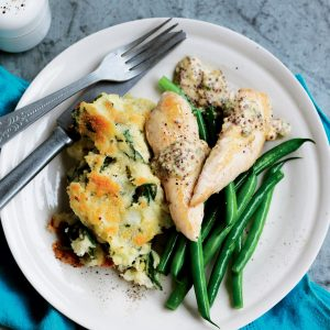 Grilled chicken and mash gratin with mustard sauce