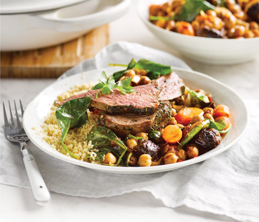 Grilled lamb rump with quick braised chickpeas