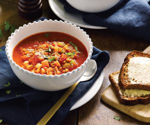 Hearty tomato and red lentil soup