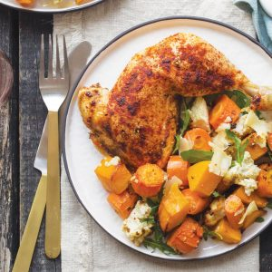 Paprika chicken with carrots and ricotta
