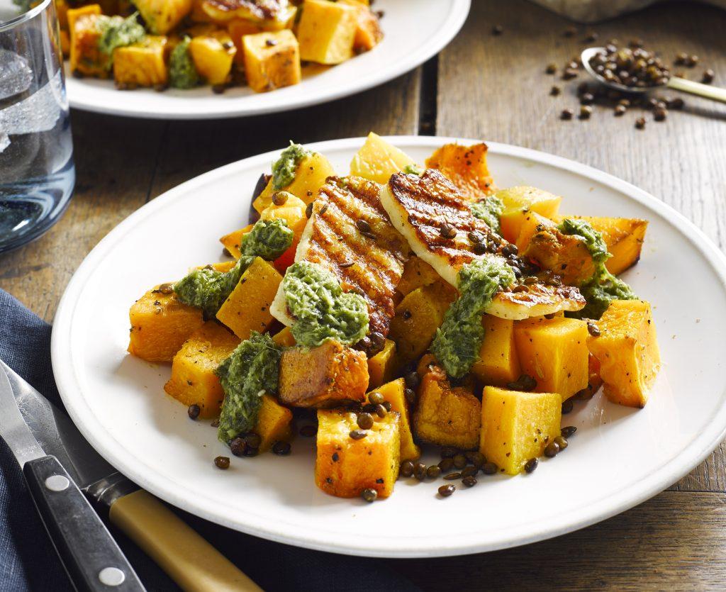 Roasted pumpkin with haloumi, crispy lentils and coriander dressing