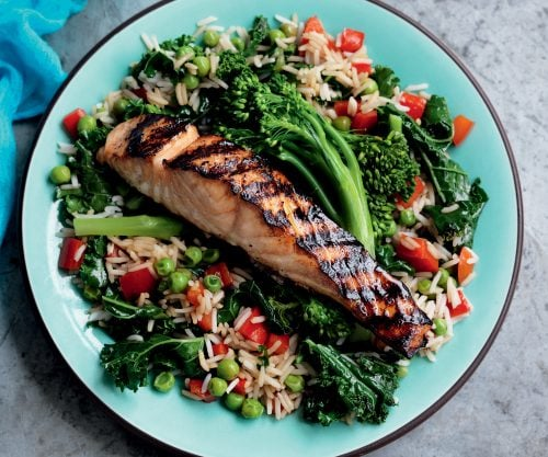 Sesame-soy salmon with stir-fried rice