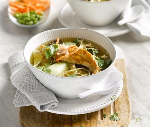 Soba noodle soup with fish and shiitake