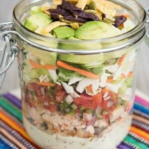 Southwest chopped salad with chicken and salsa (sponsored)