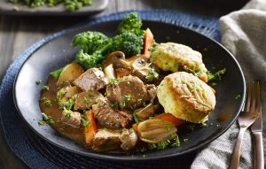 Beef and ale casserole with herby dumplings