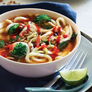 Lime and chilli chicken miso soup