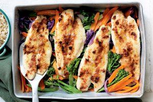 Miso fish tray bake