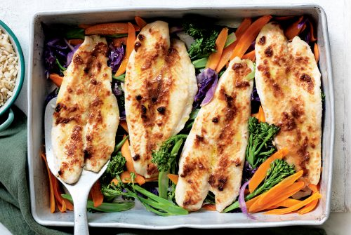 Miso fish tray bake