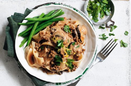Mushroom stroganoff with gremolata