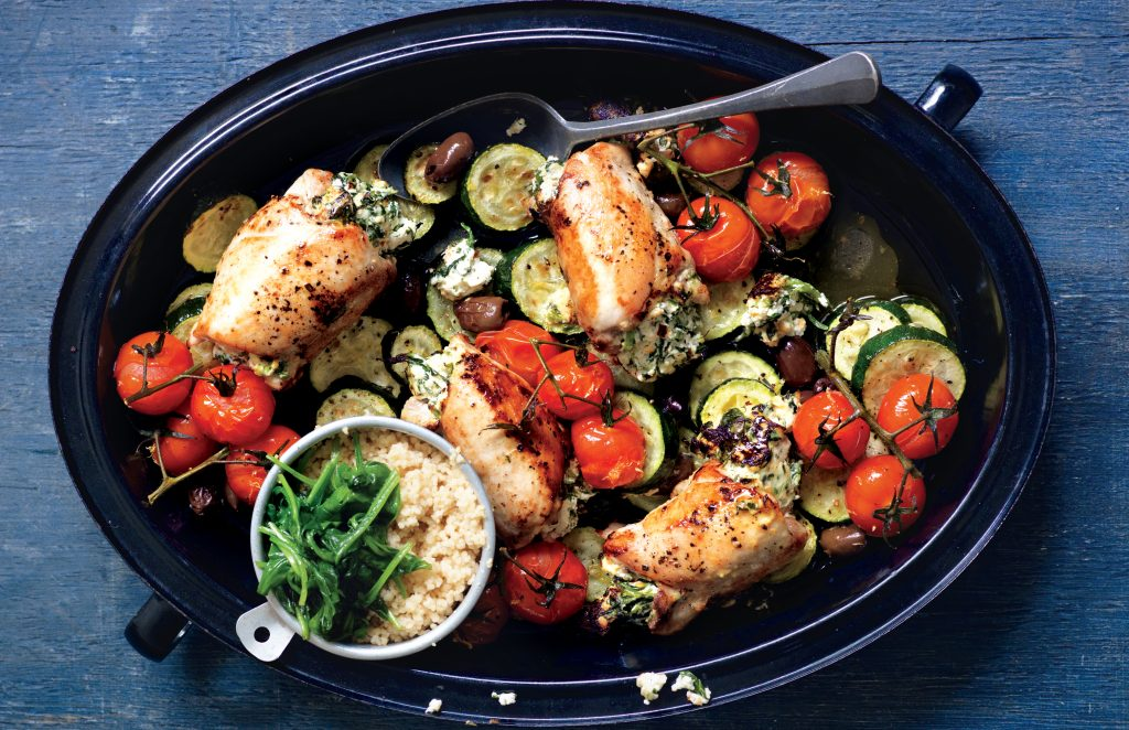 Ricotta-stuffed chicken tray bake
