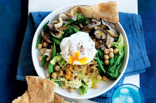 Braised greens with chickpeas and eggs