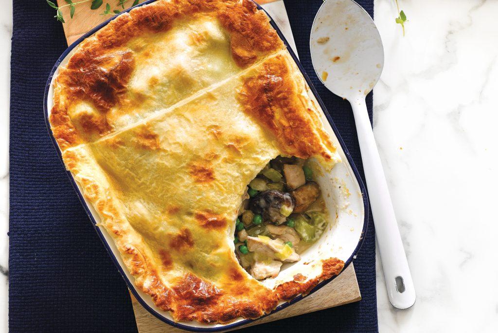 Chicken, leek and mushroom pie