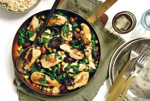 Chicken marbella with chickpeas and prunes