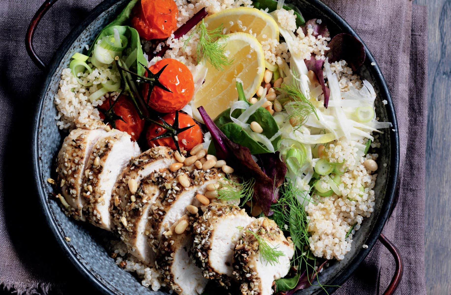 Dukkah-roasted chicken with fennel and quinoa salad ...