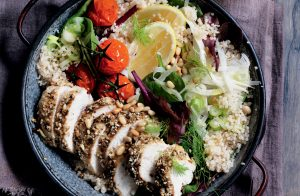 Dukkah-roasted chicken with fennel and quinoa salad