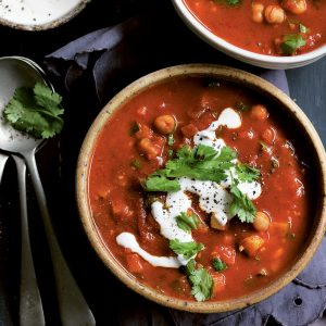 Indian curried vegetable and chickpea soup
