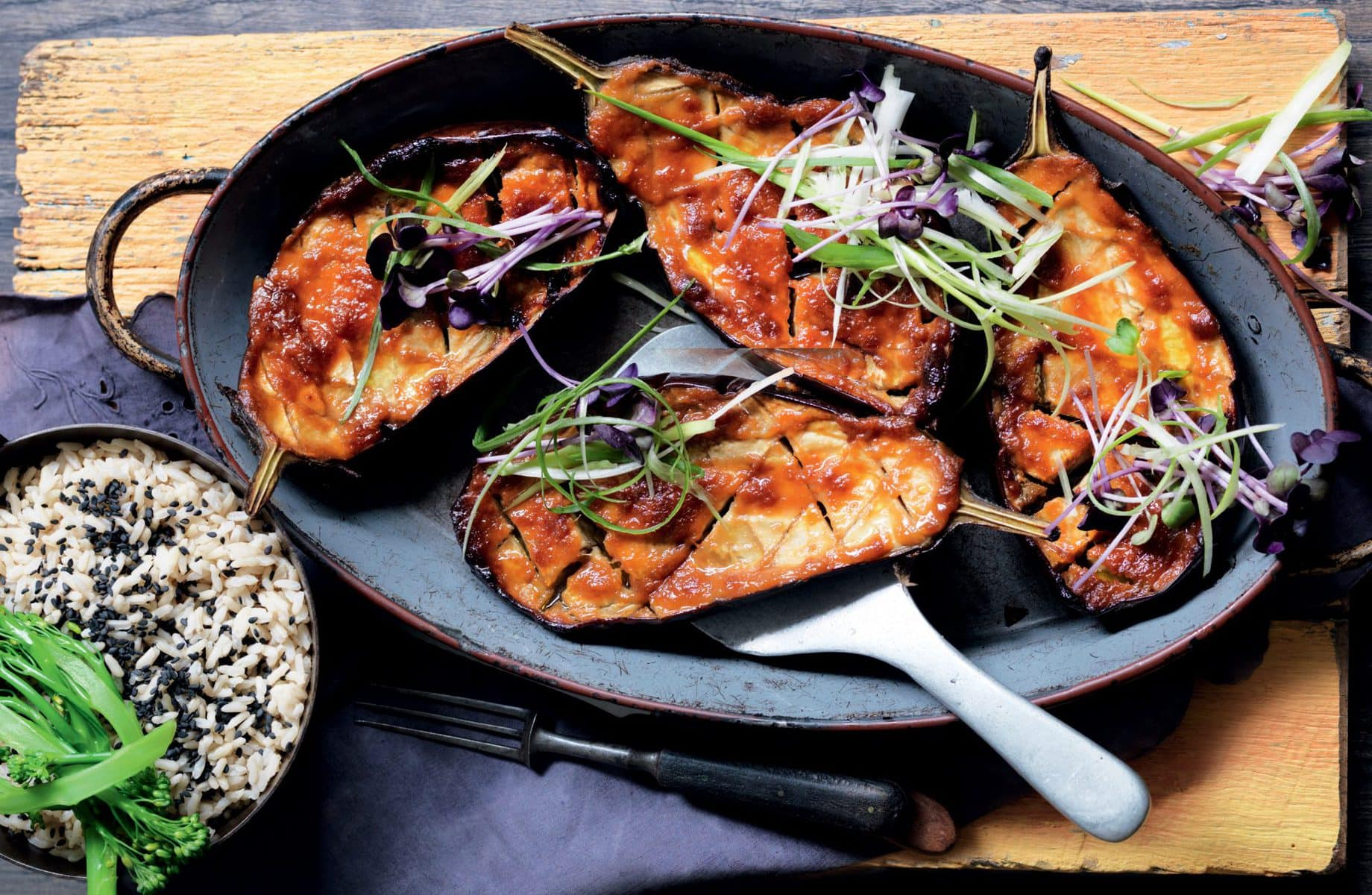 Miso-glazed roasted eggplant with sesame rice