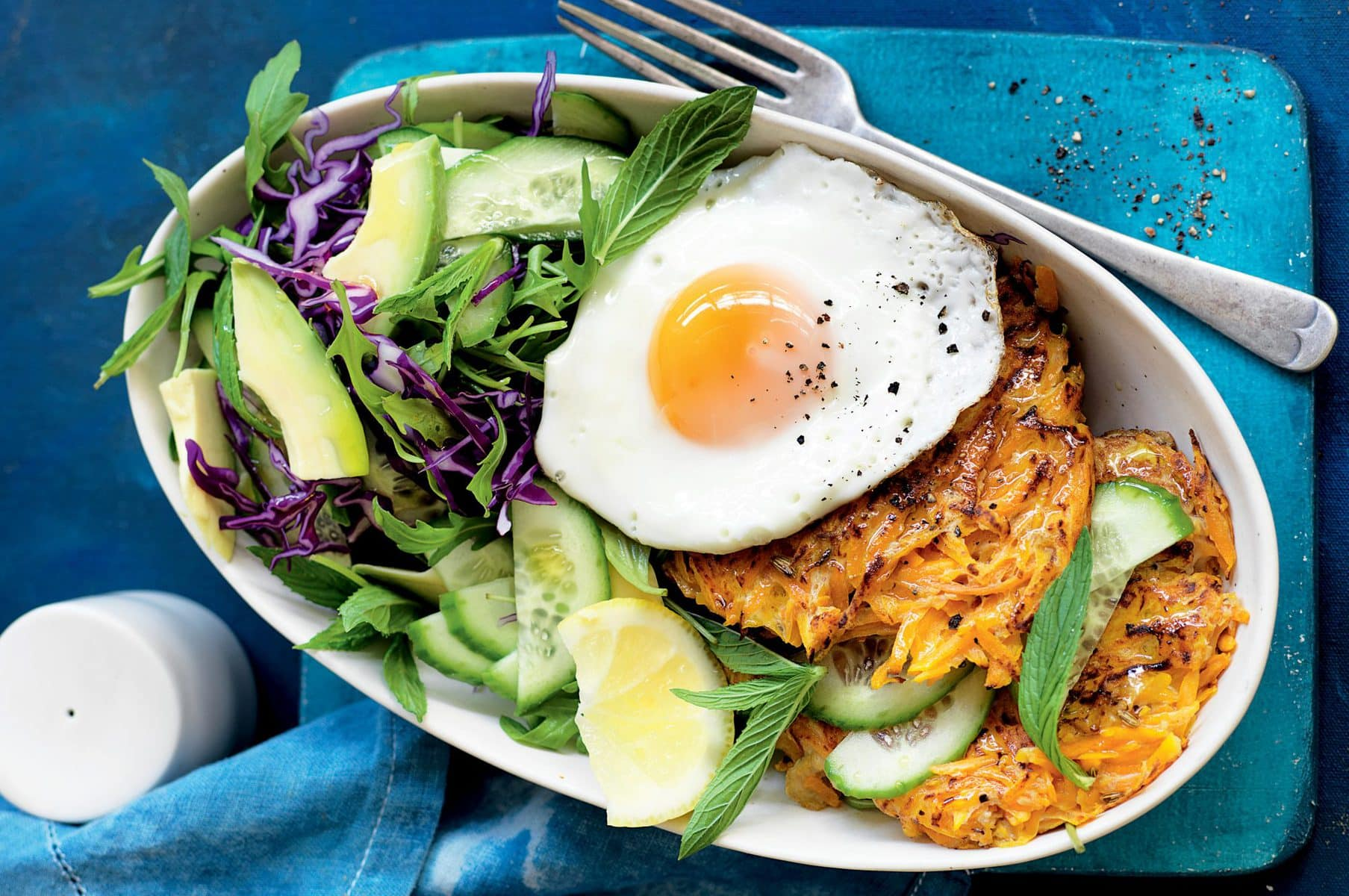 Rosemary and fennel pumpkin rosti with fried eggs