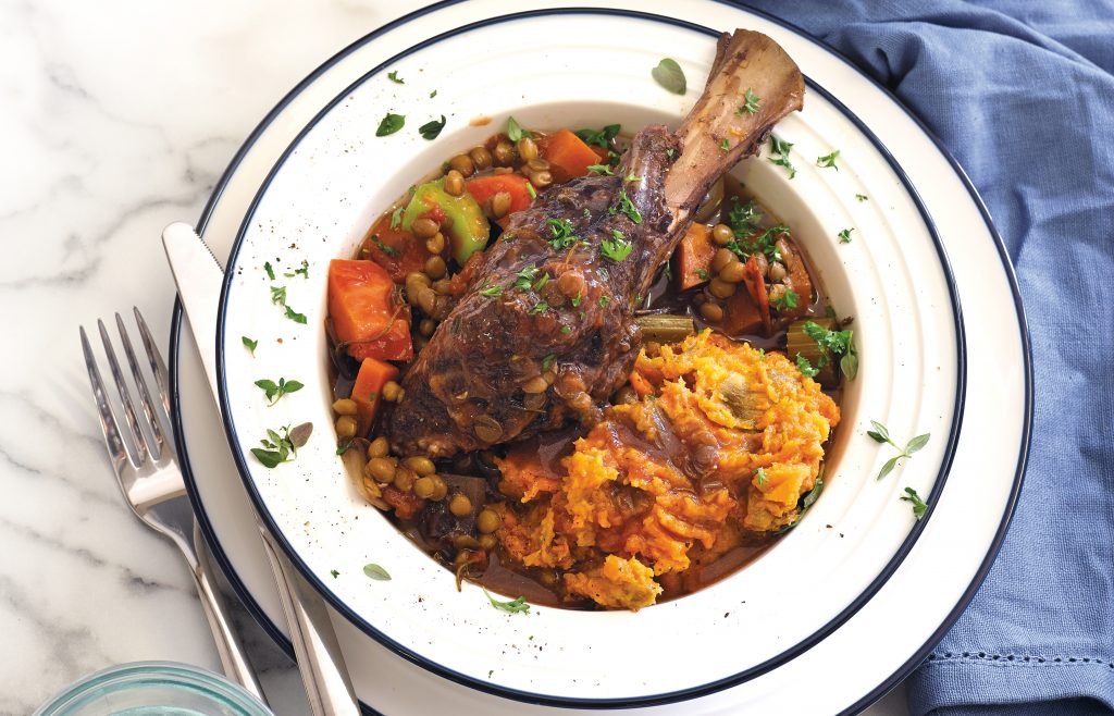 Slow-cooked lamb shanks with kumara mash