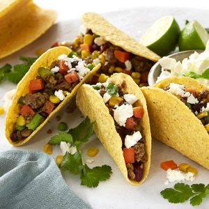 Tacos with beans, chicken and corn