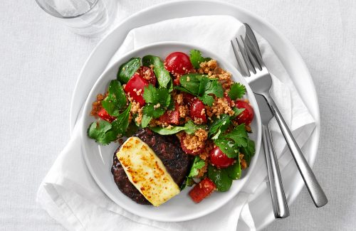 Beetroot burger melts with harissa couscous (sponsored)