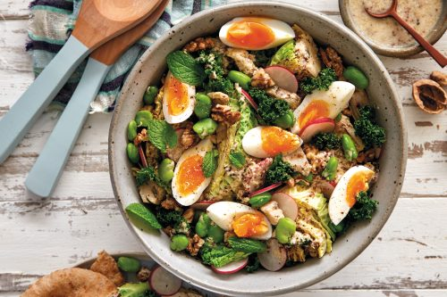 Cabbage, broad bean and egg slaw