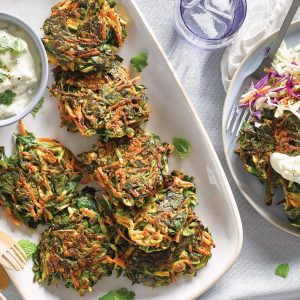 Carrot, spinach and courgette fritters with creamy feta dip