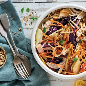 Chicken, fennel and grilled red cabbage slaw