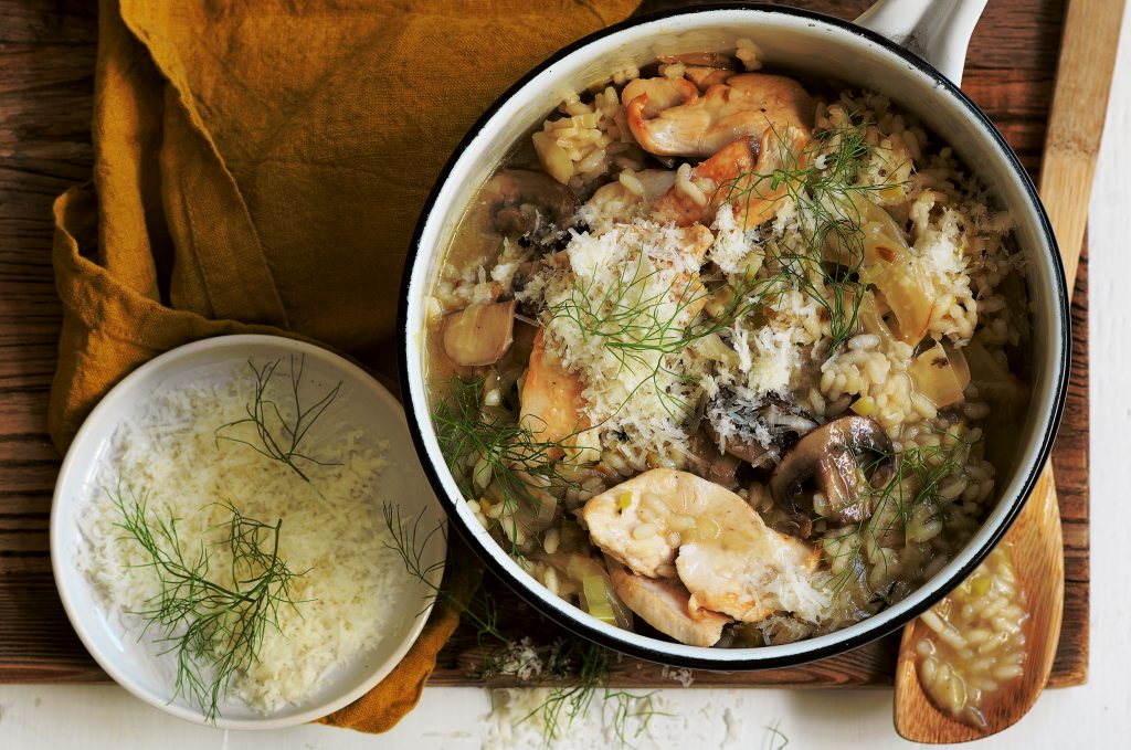 Chicken, mushroom and fennel risotto