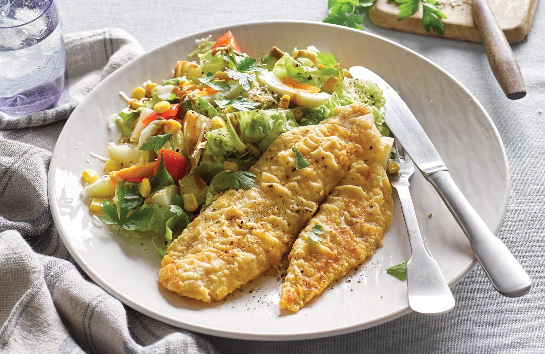 Cobb potato salad with crispy fish