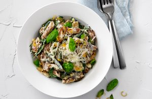 Creamy lemon and vege pasta with Chicken Free Strips (sponsored)