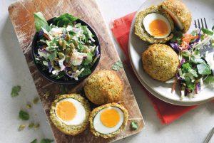 Falafel Scotch eggs with sesame slaw