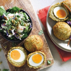 Falafel Scotch eggs with sesame slaw