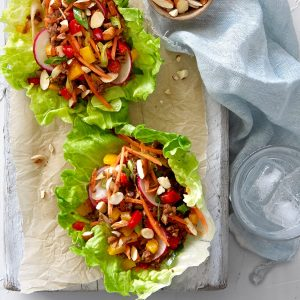 Spicy vege mince crunchy lettuce cups (sponsored)