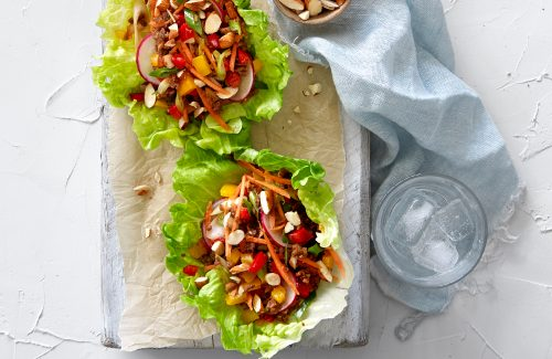 Spicy vege mince crunchy lettuce cups