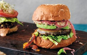 Mexi portobello burgers with pickled pink onions