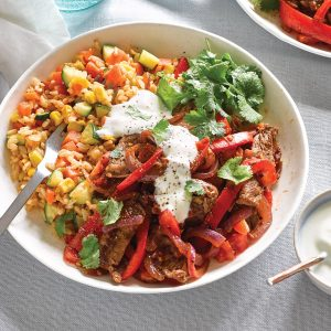 Mexican beef and capsicum with rainbow rice