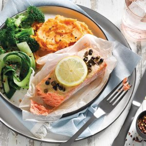 Mustard and juniper berry salmon with kumara mash