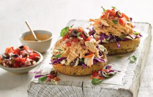 Open chicken salsa burgers