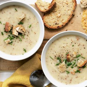 Parsnip and mustard soup with parmesan crisps