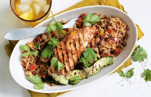 Piri piri chicken with Spanish-style rice