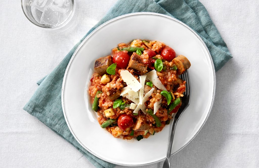 Sausage and tomato vegetarian risotto