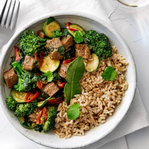 Aromatic vege curry with Beef Free Chunks (sponsored)