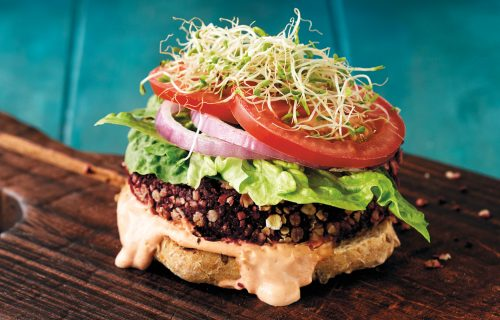 Supergrain beetroot and tofu open burgers