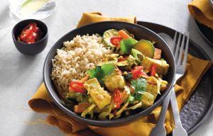 Tofu and vege satay curry