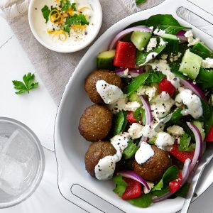Crunchy Greek falafel salad